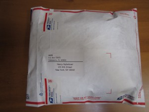 A typical package and label ActSensuous sends out. Don't tell Nancy we showed you this.