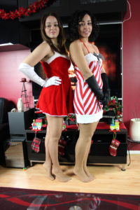 Model sisters, Olivia (L) and Ariel, wearing Original Act IV in Suntan during Christmas 2013.
